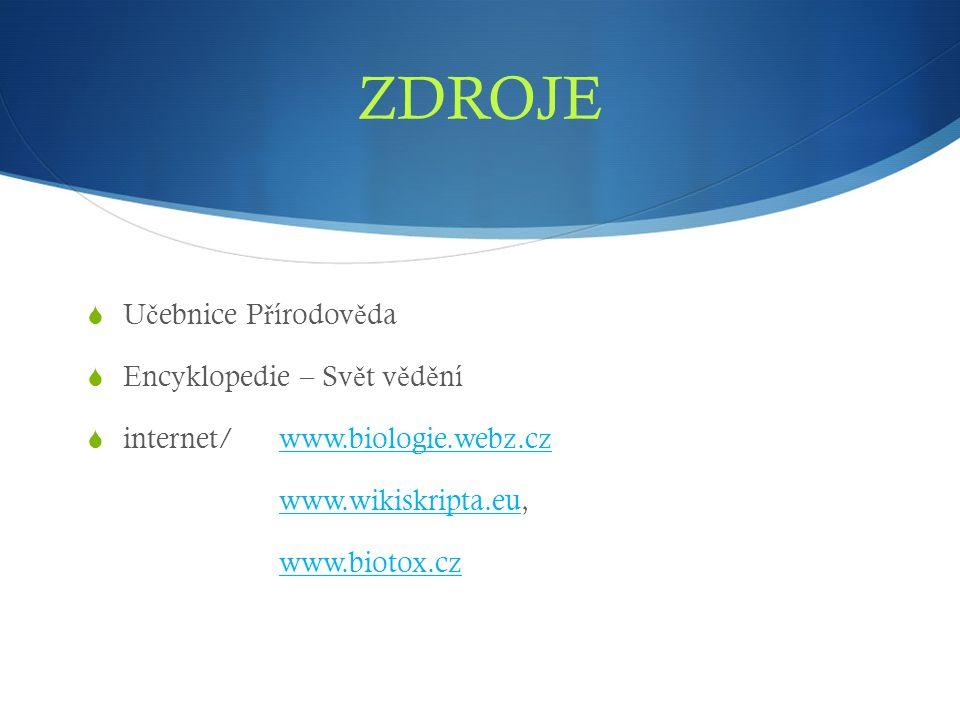 ZDROJE  U č ebnice P ř írodov ě da  Encyklopedie – Sv ě t v ě d ě ní  internet/ www.biologie.webz.czwww.biologie.webz.cz www.wikiskripta.eu,www.wik