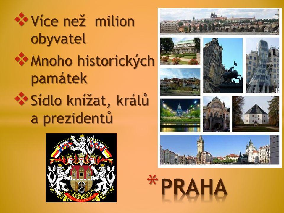  Více než milion obyvatel  Mnoho historických památek  Sídlo knížat, králů a prezidentů