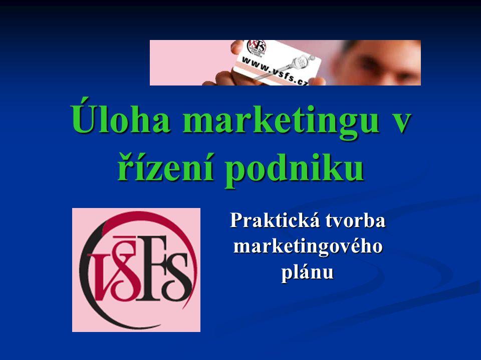 Úloha marketingu v řízení podniku Praktická tvorba marketingového plánu