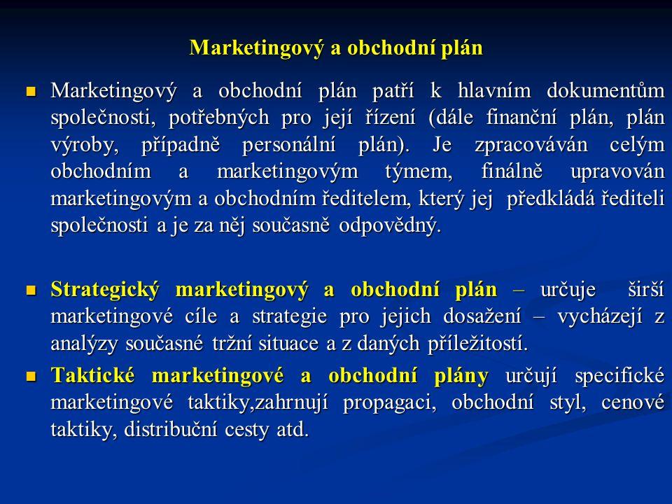 Marketingový a obchodní plán Marketingový a obchodní plán patří k hlavním dokumentům společnosti, potřebných pro její řízení (dále finanční plán, plán