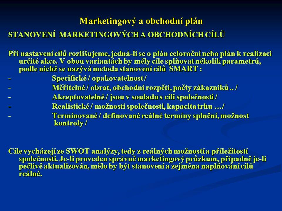 Marketingový a obchodní plán STANOVENÍ MARKETINGOVÝCH A OBCHODNÍCH CÍLŮ Při nastavení cílů rozlišujeme, jedná-li se o plán celoroční nebo plán k reali
