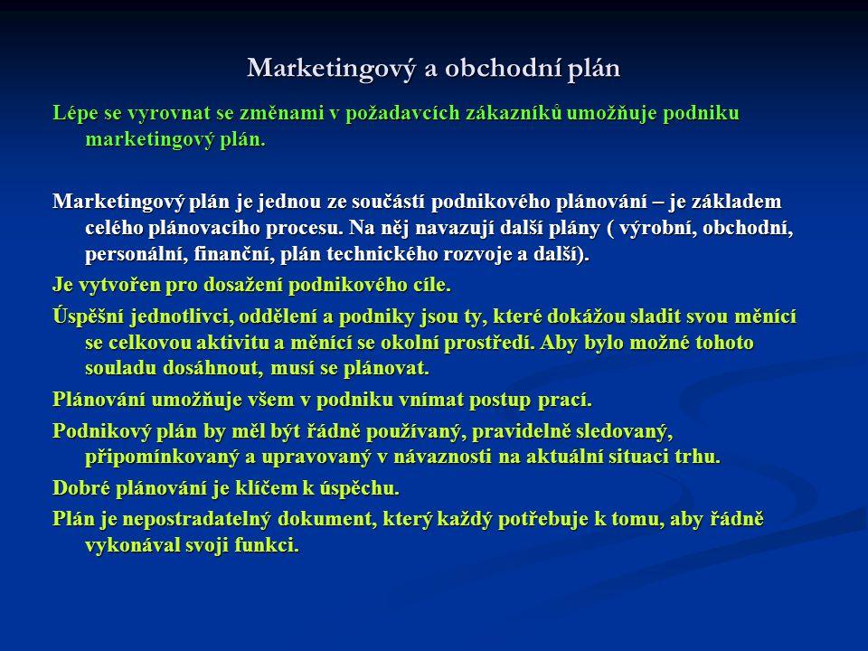 Marketingový a obchodní plán Lépe se vyrovnat se změnami v požadavcích zákazníků umožňuje podniku marketingový plán. Marketingový plán je jednou ze so