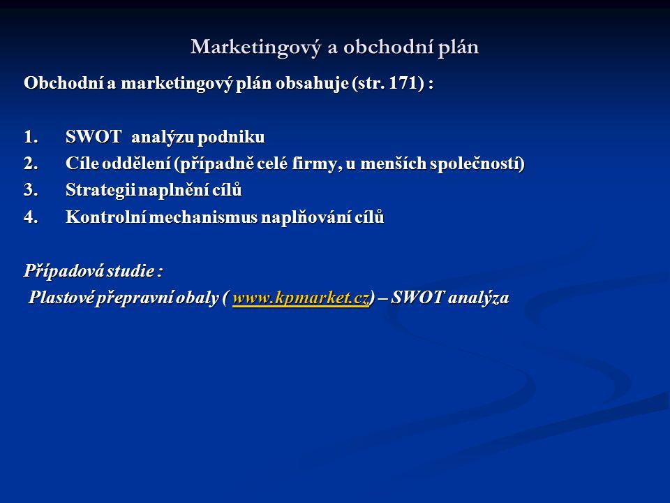 Marketingový a obchodní plán Obchodní a marketingový plán obsahuje (str. 171) : 1. SWOT analýzu podniku 2. Cíle oddělení (případně celé firmy, u menší