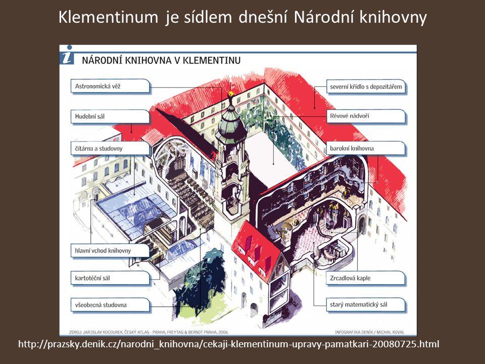 Klementinum je sídlem dnešní Národní knihovny http://prazsky.denik.cz/narodni_knihovna/cekaji-klementinum-upravy-pamatkari-20080725.html