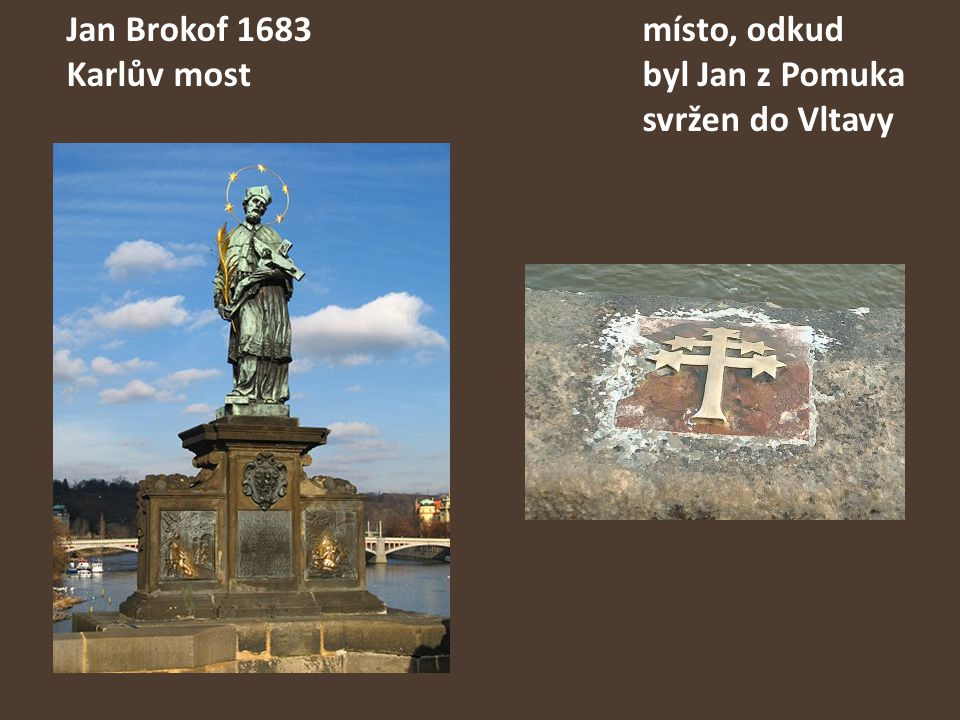 Jan Brokof 1683místo, odkud Karlův mostbyl Jan z Pomuka svržen do Vltavy