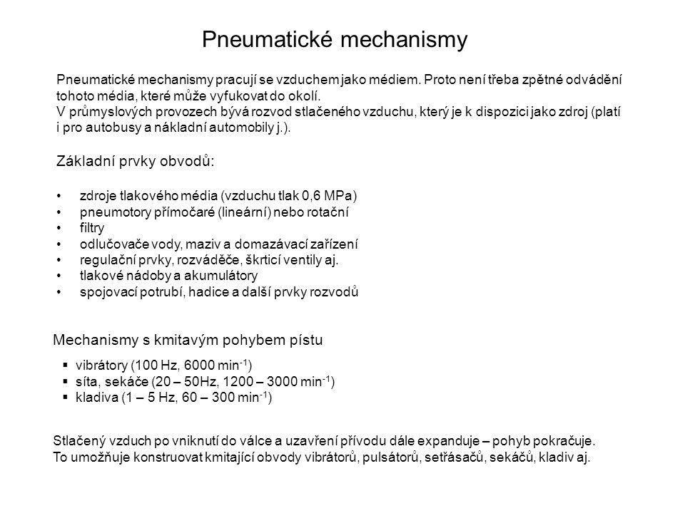 Pneumatické mechanismy Pneumatické mechanismy pracují se vzduchem jako médiem.
