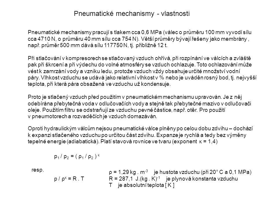Pneumatické mechanismy - vlastnosti Pneumatické mechanismy pracují s tlakem cca 0,6 MPa (válec o průměru 100 mm vyvodí sílu cca 4710 N, o průměru 40 mm sílu cca 754 N).
