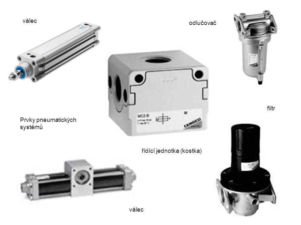 Prvky pneumatických systémů válec filtr válec řídící jednotka (kostka) odlučovač