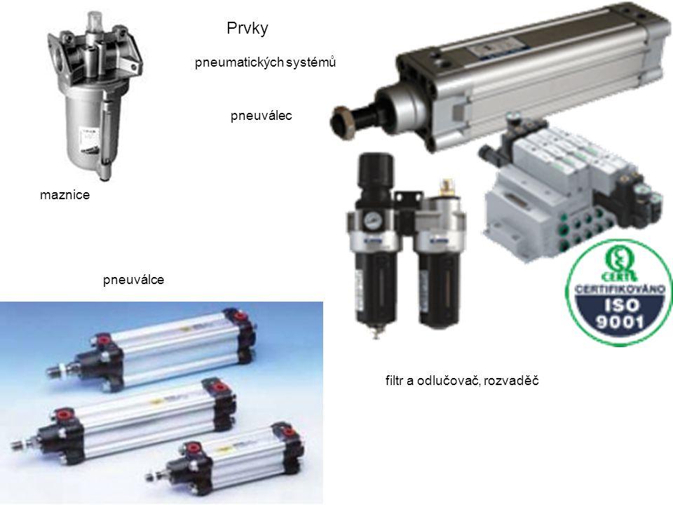 maznice Prvky pneumatických systémů filtr a odlučovač, rozvaděč pneuválce pneuválec