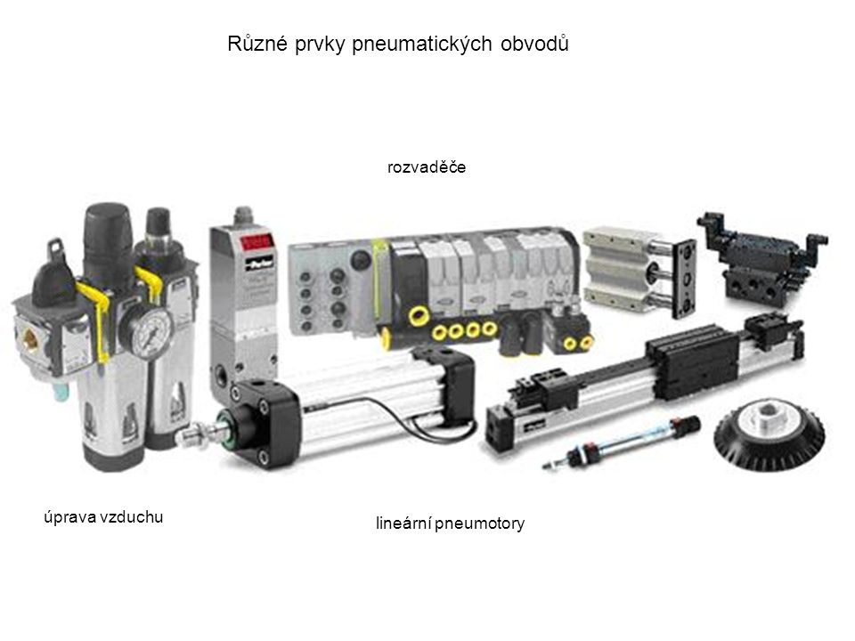 Různé prvky pneumatických obvodů lineární pneumotory úprava vzduchu rozvaděče