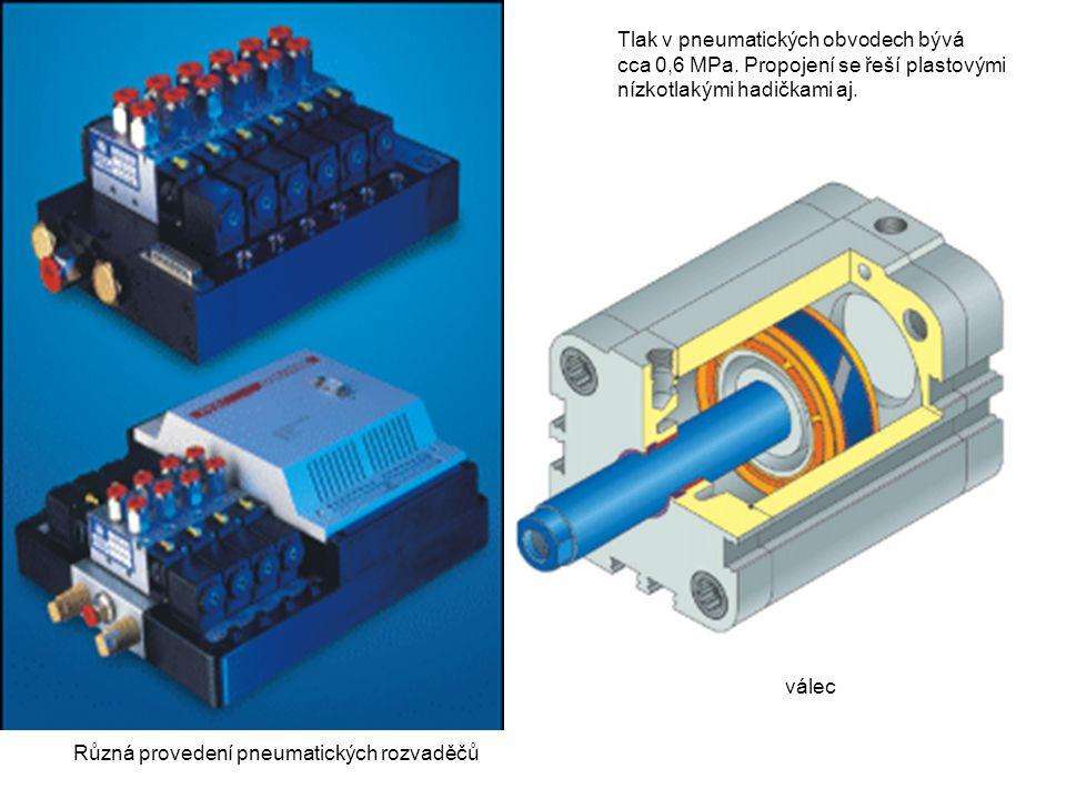 Různá provedení pneumatických rozvaděčů Tlak v pneumatických obvodech bývá cca 0,6 MPa.