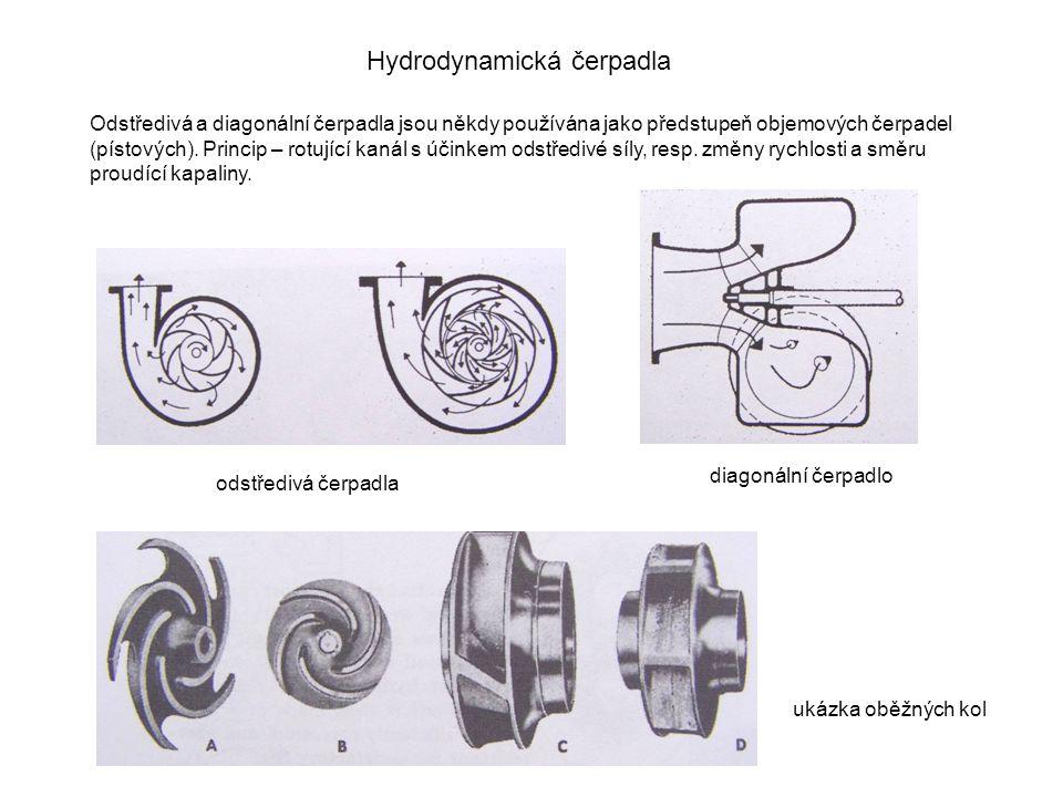 Hydrodynamická čerpadla Odstředivá a diagonální čerpadla jsou někdy používána jako předstupeň objemových čerpadel (pístových).