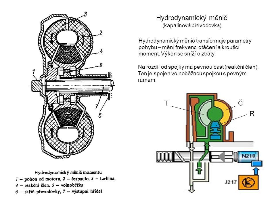 Hydrodynamický měnič Hydrodynamický měnič transformuje parametry pohybu – mění frekvenci otáčení a krouticí moment.