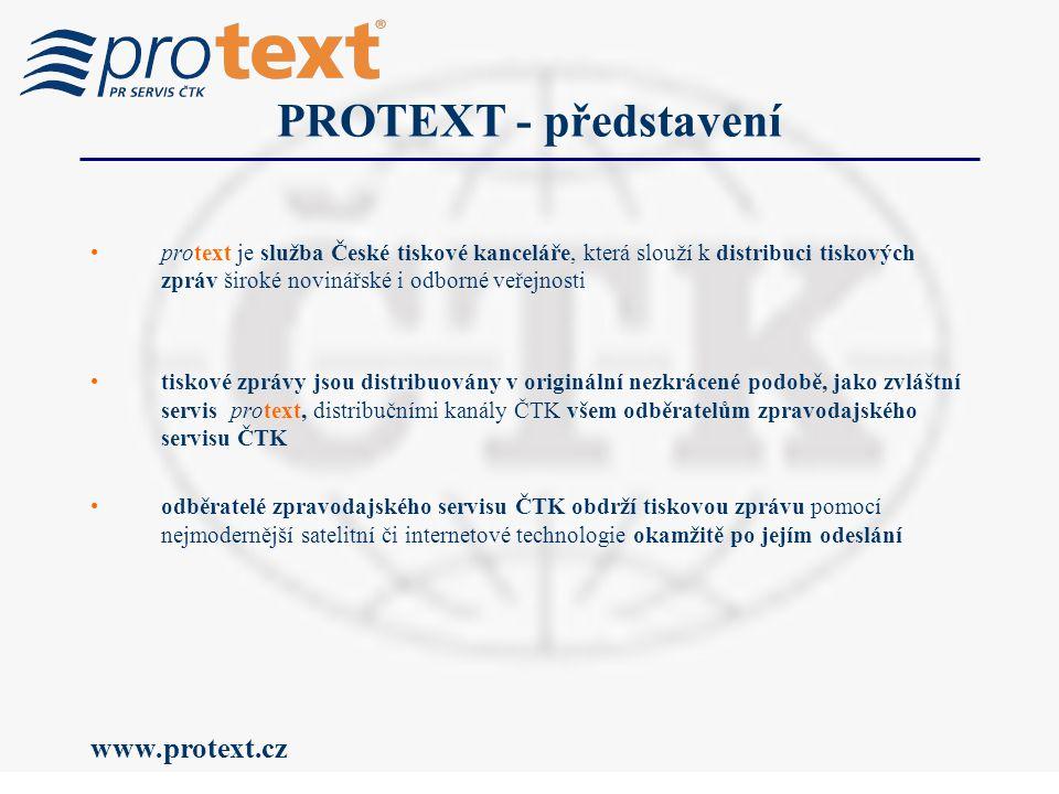 www.protext.cz protext je služba České tiskové kanceláře, která slouží k distribuci tiskových zpráv široké novinářské i odborné veřejnosti tiskové zprávy jsou distribuovány v originální nezkrácené podobě, jako zvláštní servis protext, distribučními kanály ČTK všem odběratelům zpravodajského servisu ČTK odběratelé zpravodajského servisu ČTK obdrží tiskovou zprávu pomocí nejmodernější satelitní či internetové technologie okamžitě po jejím odeslání PROTEXT - představení