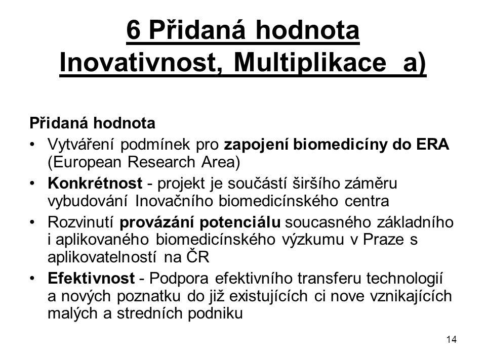 14 6 Přidaná hodnota Inovativnost, Multiplikace a) Přidaná hodnota Vytváření podmínek pro zapojení biomedicíny do ERA (European Research Area) Konkrét