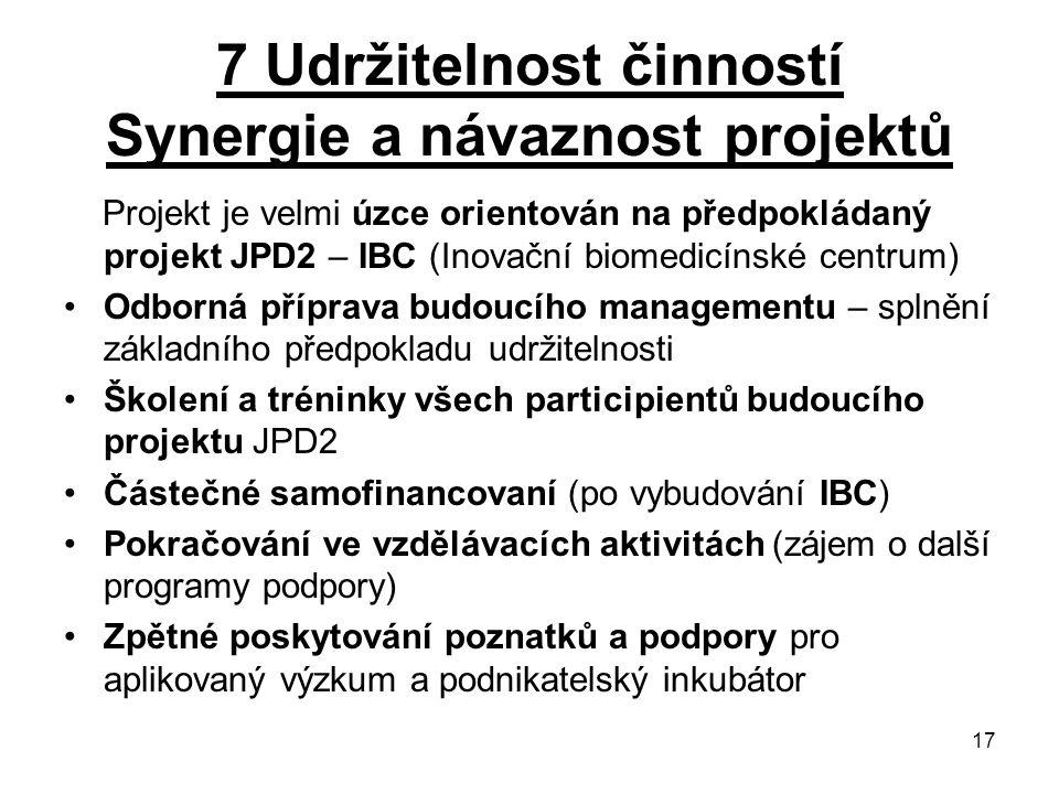 17 7 Udržitelnost činností Synergie a návaznost projektů Projekt je velmi úzce orientován na předpokládaný projekt JPD2 – IBC (Inovační biomedicínské