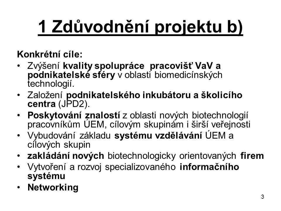3 1 Zdůvodnění projektu b) Konkrétní cíle: Zvýšení kvality spolupráce pracovišť VaV a podnikatelské sféry v oblasti biomedicínských technologií. Založ