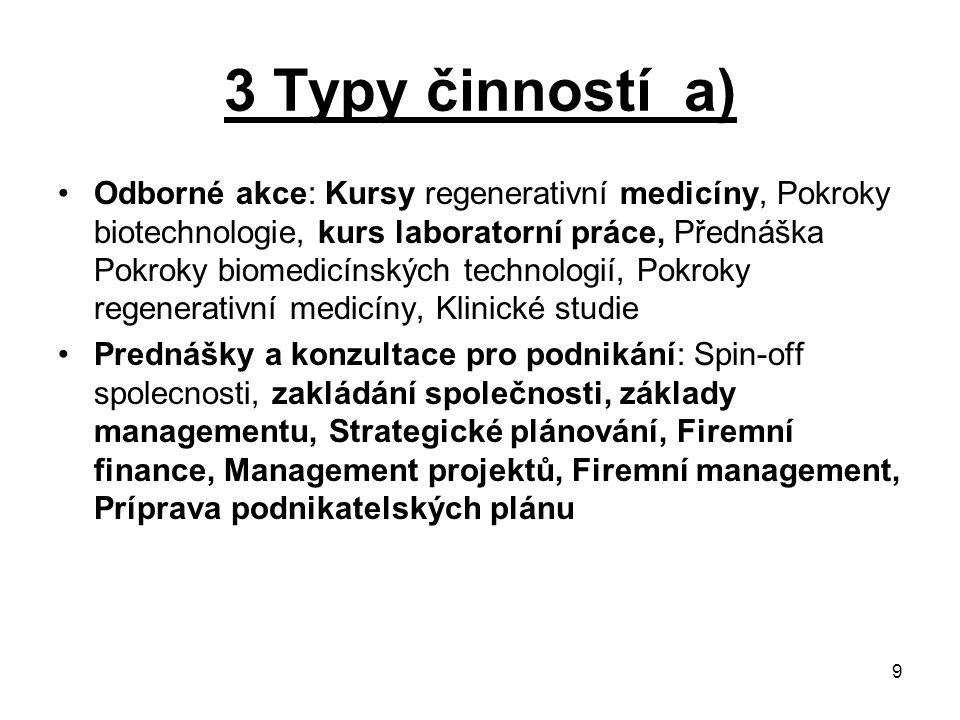 9 3 Typy činností a) Odborné akce: Kursy regenerativní medicíny, Pokroky biotechnologie, kurs laboratorní práce, Přednáška Pokroky biomedicínských tec