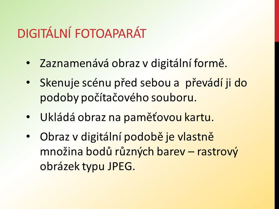DIGITÁLNÍ FOTOAPARÁT Zaznamenává obraz v digitální formě.
