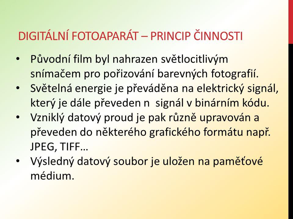 DIGITÁLNÍ FOTOAPARÁT – PRINCIP ČINNOSTI Původní film byl nahrazen světlocitlivým snímačem pro pořizování barevných fotografií. Světelná energie je pře