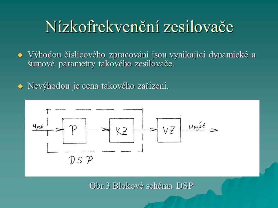 Nízkofrekvenční zesilovače  Výhodou číslicového zpracování jsou vynikající dynamické a šumové parametry takového zesilovače.  Nevýhodou je cena tako