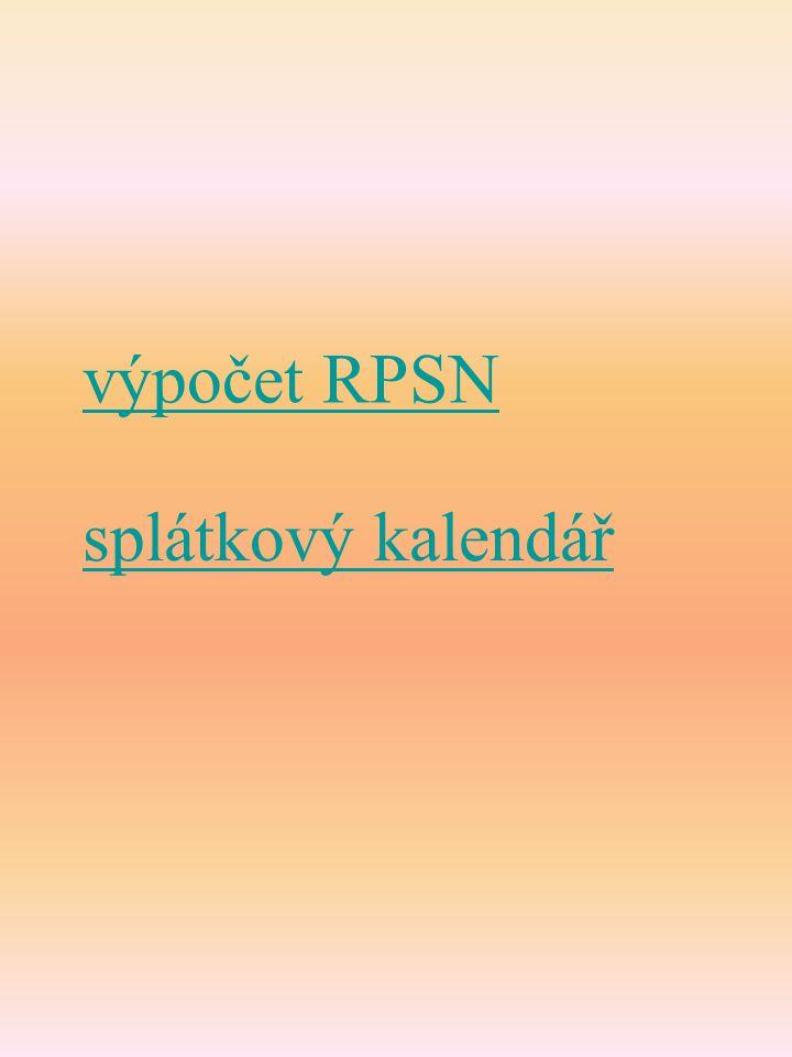 výpočet RPSN splátkový kalendář