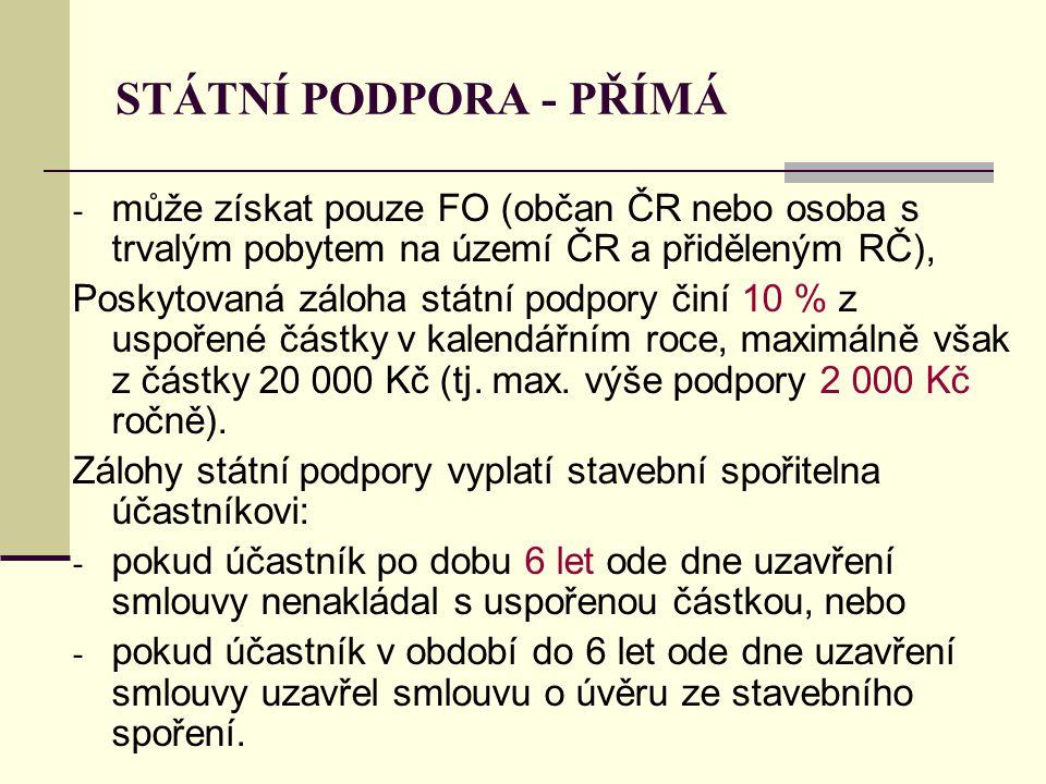 STÁTNÍ PODPORA - PŘÍMÁ - může získat pouze FO (občan ČR nebo osoba s trvalým pobytem na území ČR a přiděleným RČ), Poskytovaná záloha státní podpory č