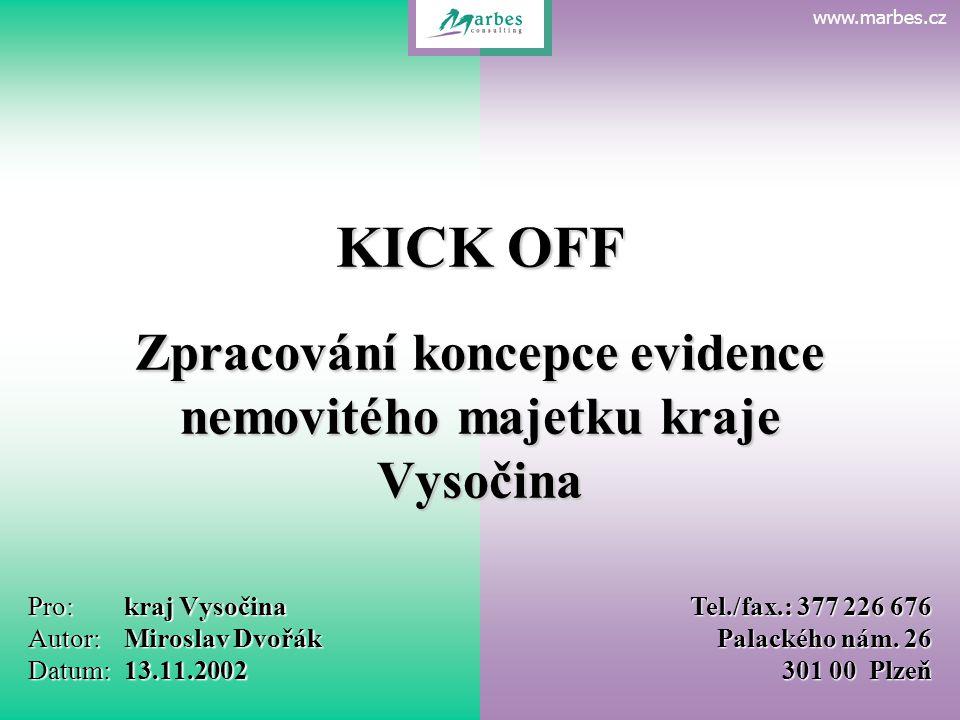 www.marbes.czKick Off kraj Vysočina 13.11.2002 Pro:kraj Vysočina Autor:Miroslav Dvořák Datum:13.11.2002 Tel./fax.: 377 226 676 Palackého nám.