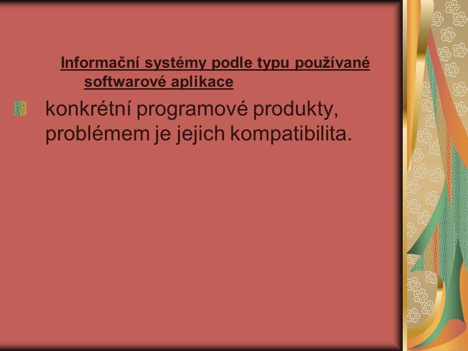 Informační systémy podle typu používané softwarové aplikace konkrétní programové produkty, problémem je jejich kompatibilita.