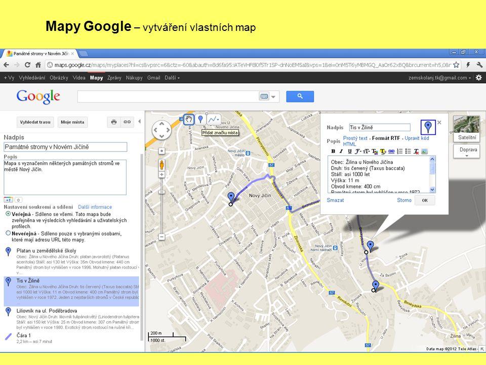 Mapy Google – vytváření vlastních map