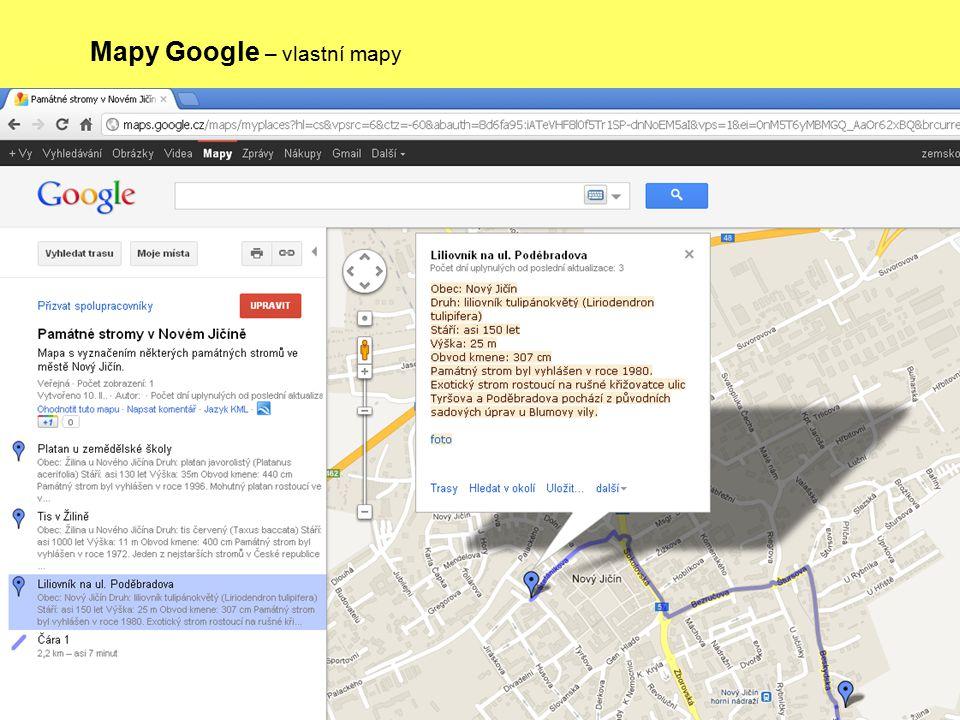 Mapy Google – vlastní mapy