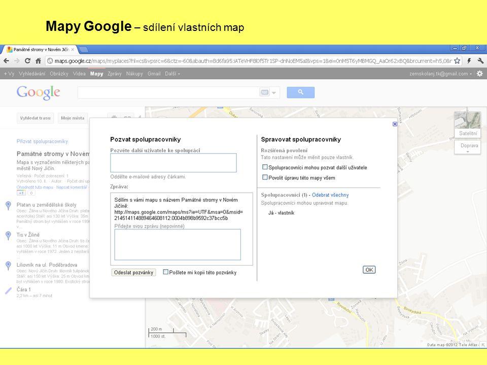 Mapy Google – sdílení vlastních map