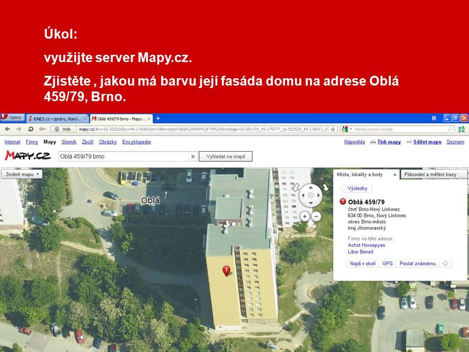 Úkol: využijte server Mapy.cz. Zjistěte, jakou má barvu její fasáda domu na adrese Oblá 459/79, Brno.