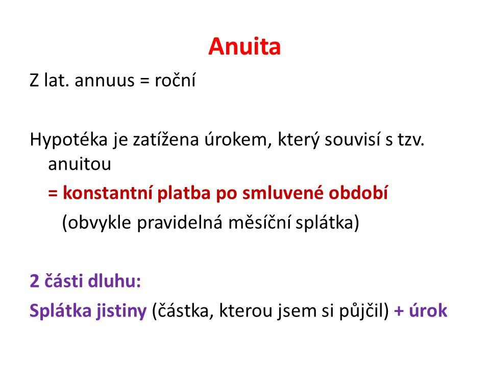 Anuita Z lat. annuus = roční Hypotéka je zatížena úrokem, který souvisí s tzv.