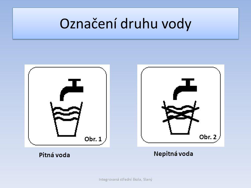 Označení druhu vody Pitná voda Nepitná voda Obr. 1 Obr. 2 Integrovaná střední škola, Slaný