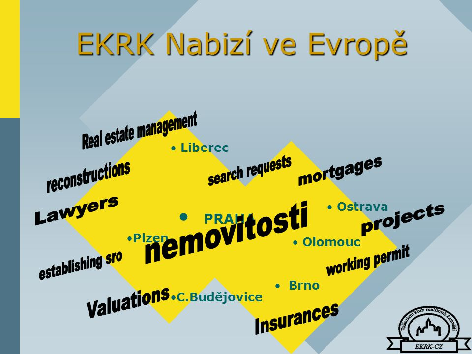 EKRK Nabizí ve Evropě PRAHA Olomouc Plzen Brno Ostrava Liberec C.Budějovice