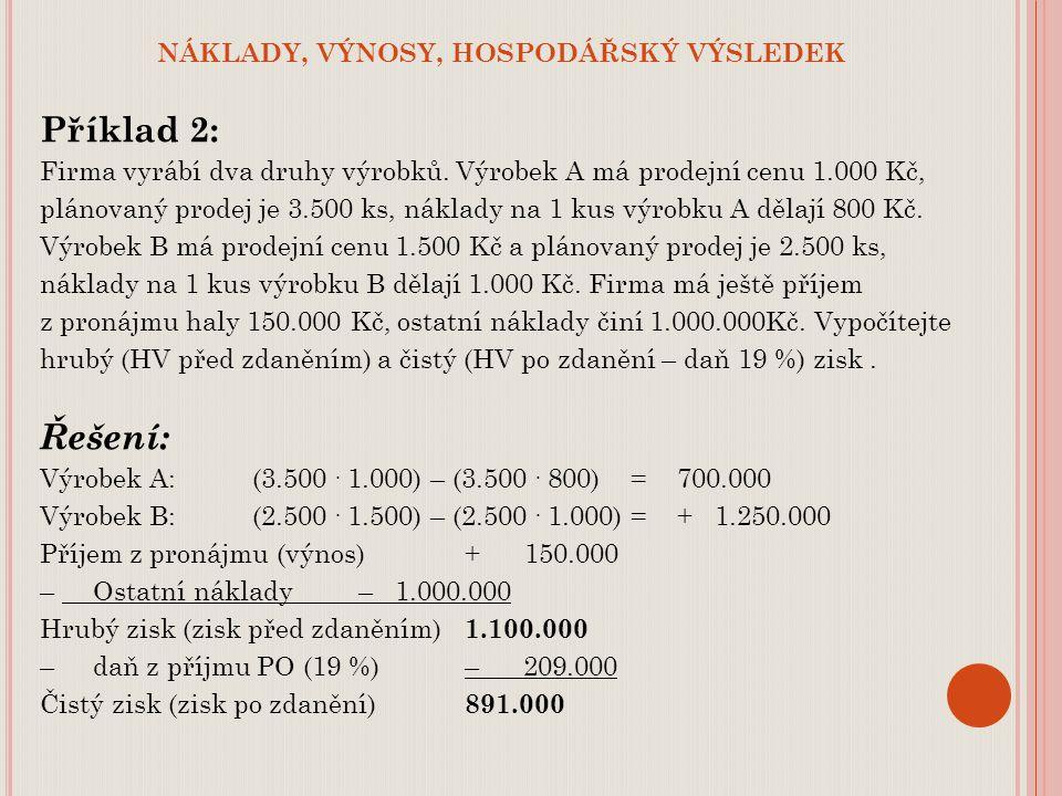 NÁKLADY, VÝNOSY, HOSPODÁŘSKÝ VÝSLEDEK Příklad 2: Firma vyrábí dva druhy výrobků. Výrobek A má prodejní cenu 1.000 Kč, plánovaný prodej je 3.500 ks, ná