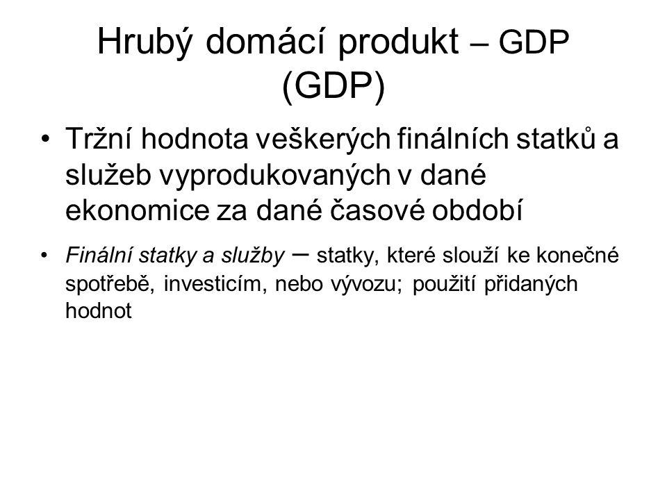 Hrubý domácí produkt – GDP (GDP) Tržní hodnota veškerých finálních statků a služeb vyprodukovaných v dané ekonomice za dané časové období Finální stat