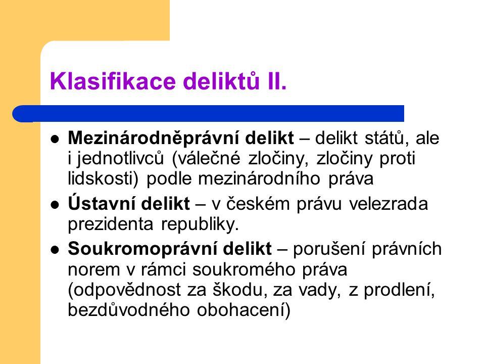Klasifikace deliktů II. Mezinárodněprávní delikt – delikt států, ale i jednotlivců (válečné zločiny, zločiny proti lidskosti) podle mezinárodního práv