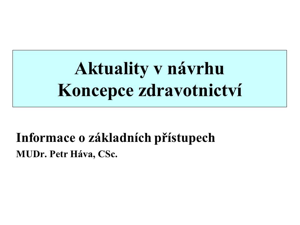 Aktuality v návrhu Koncepce zdravotnictví Informace o základních přístupech MUDr. Petr Háva, CSc.