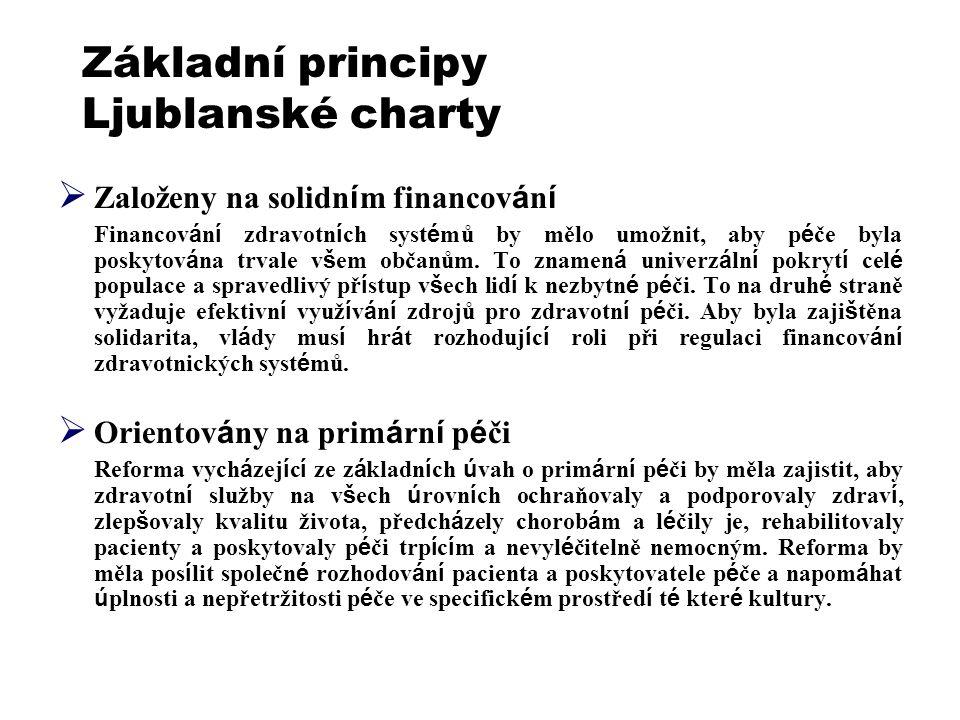 Základní principy Ljublanské charty  Založeny na solidn í m financov á n í Financov á n í zdravotn í ch syst é mů by mělo umožnit, aby p é če byla po