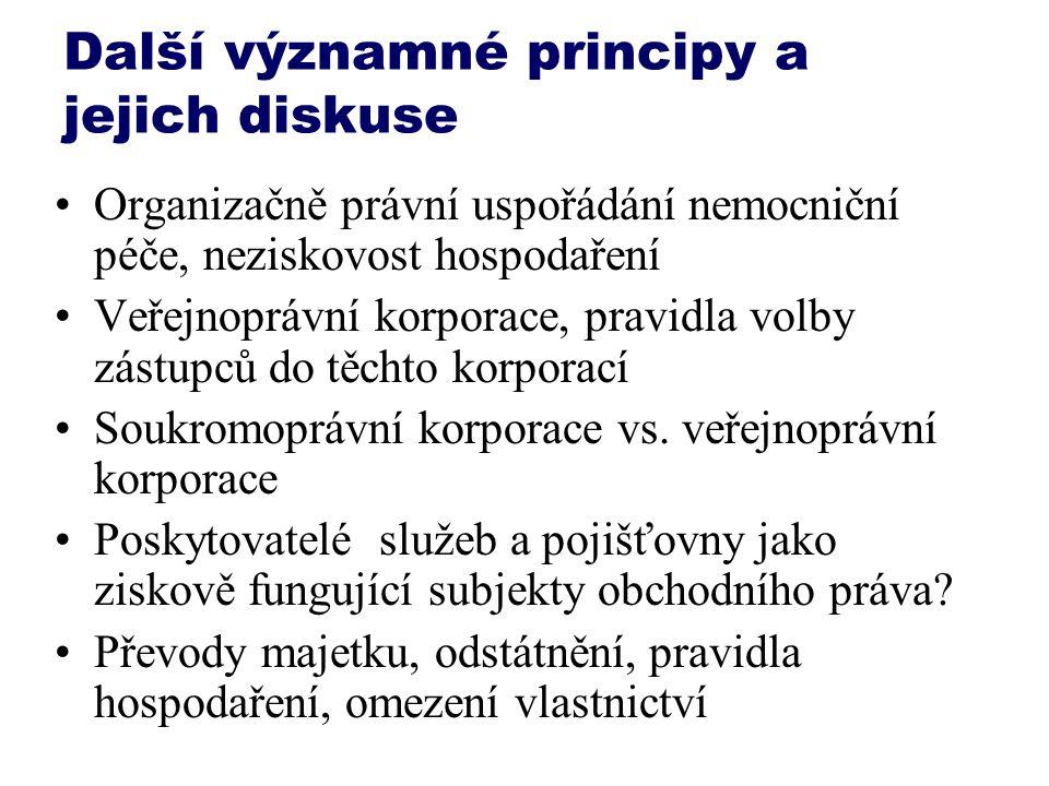 Další významné principy a jejich diskuse Organizačně právní uspořádání nemocniční péče, neziskovost hospodaření Veřejnoprávní korporace, pravidla volb
