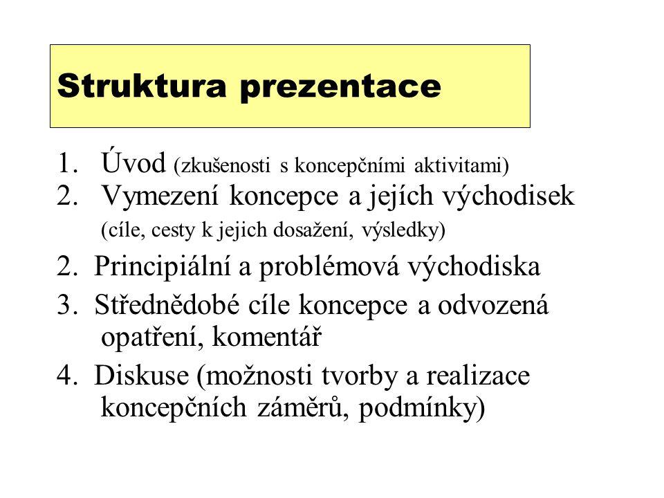 Struktura prezentace 1.Úvod (zkušenosti s koncepčními aktivitami) 2.Vymezení koncepce a jejích východisek (cíle, cesty k jejich dosažení, výsledky) 2.