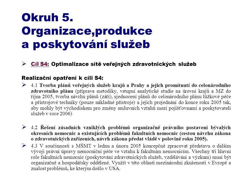 Okruh 5. Organizace,produkce a poskytování služeb  Cíl S4: Optimalizace sítě veřejných zdravotnických služeb Realizační opatření k cíli S4:  4.1 Tvo