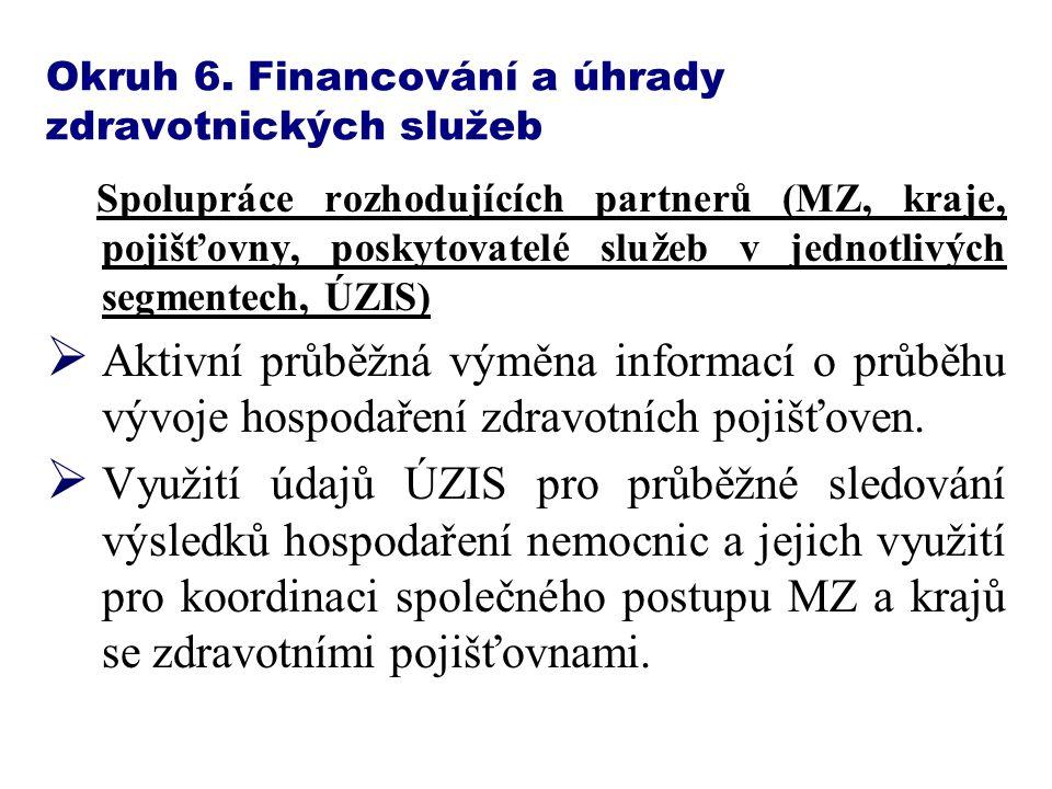 Okruh 6. Financování a úhrady zdravotnických služeb Spolupráce rozhodujících partnerů (MZ, kraje, pojišťovny, poskytovatelé služeb v jednotlivých segm