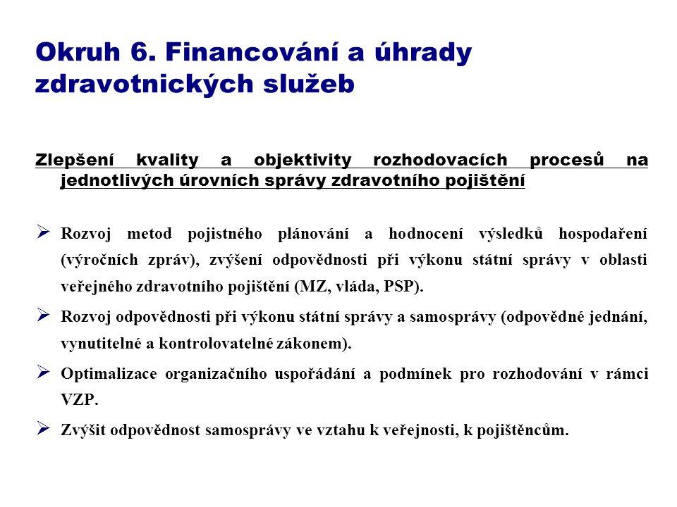 Okruh 6. Financování a úhrady zdravotnických služeb Zlepšení kvality a objektivity rozhodovacích procesů na jednotlivých úrovních správy zdravotního p