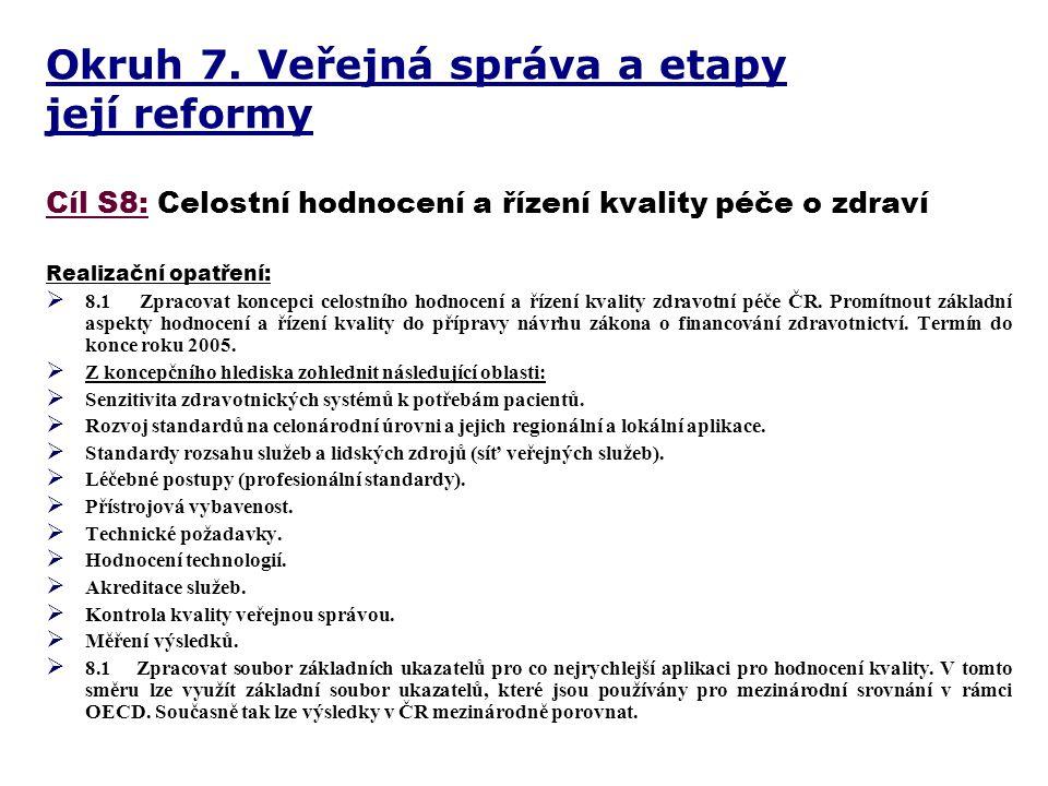 Okruh 7. Veřejná správa a etapy její reformy Cíl S8: Celostní hodnocení a řízení kvality péče o zdraví Realizační opatření:  8.1 Zpracovat koncepci c
