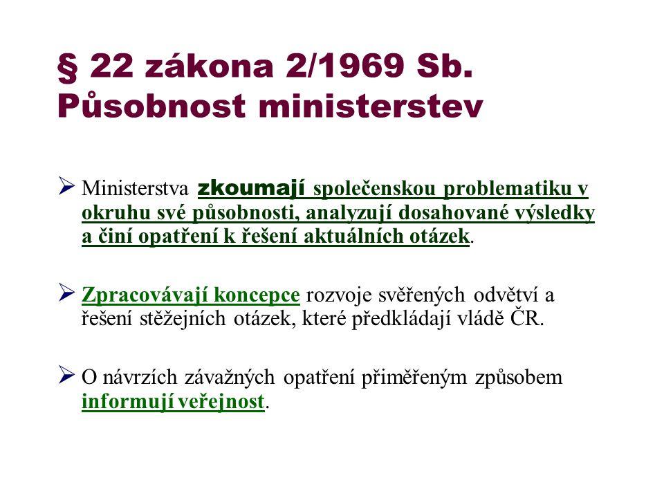 § 22 zákona 2/1969 Sb. Působnost ministerstev  Ministerstva zkoumají společenskou problematiku v okruhu své působnosti, analyzují dosahované výsledky