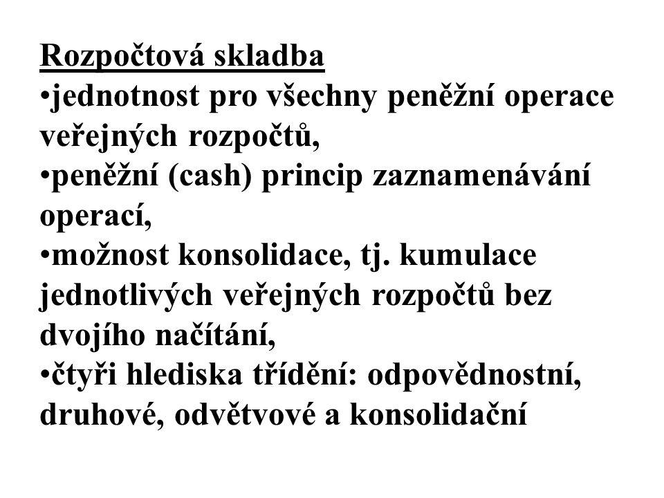 Rozpočtová skladba jednotnost pro všechny peněžní operace veřejných rozpočtů, peněžní (cash) princip zaznamenávání operací, možnost konsolidace, tj. k
