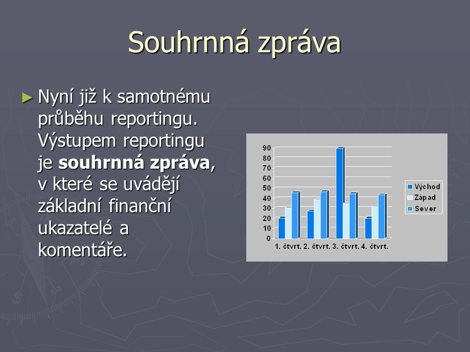 Souhrnná zpráva ► Nyní již k samotnému průběhu reportingu. Výstupem reportingu je souhrnná zpráva, v které se uvádějí základní finanční ukazatelé a ko